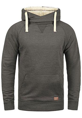 BLEND Sales Teddy Herren Kapuzenpullover Hoodie Sweatshirt mit Teddy-Futter und Crossover-Kragen aus hochwertiger Baumwollmischung Meliert, Größe:M, Farbe:Pewter Mix Teddy (75125)