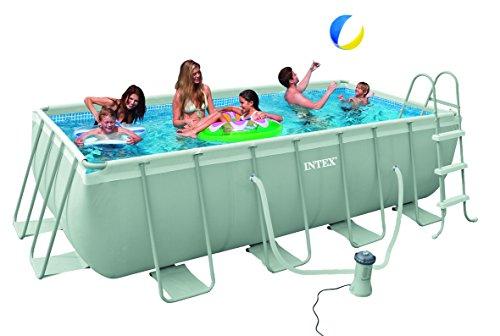 Intex 28350 Ultra Quadra mini Frame Pool Set, Kartuschenfilteranlage 2.006 l/h inklusive Leiter, 400 x 200 x 100 cm