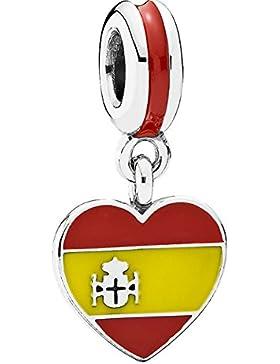 Pandora Damen-Bead Herzflagge Spanien 925 Silber Emaille - 791550ENMX
