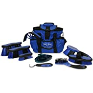Charles Bentley Slip-Not Deluxe Equestrian Microban Antibacterial 10 Piece Grooming Set - Blue