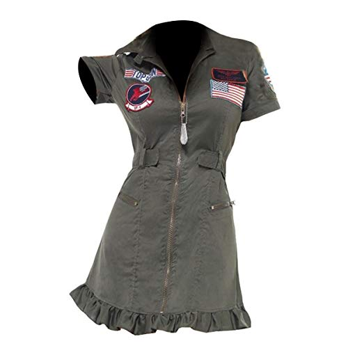 e Genius Damen Top Pistolenkostüm 80er Jahre Piloten-Flieger-Kostüm, Baumwolle Gr. 46 DE XX-Large, Design 2 Women Topgun - Bomber Jacke Aus Top Gun Kostüm