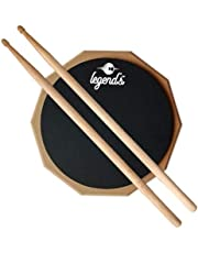 "Legend's 8"" Inches Two Sided Drum Practice Pad + Bag + Drum Sticks"