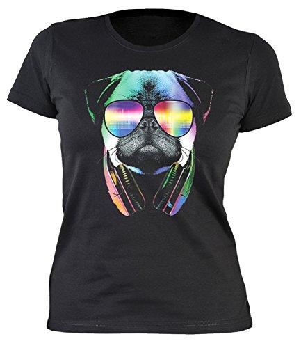 Damen T-Shirt mit buntem Hunde Motiv - DJ Pug - Mops mit Brille - Hundebild - Geschenk für alle Tierliebhaber und Hundefans - schwarz Schwarz