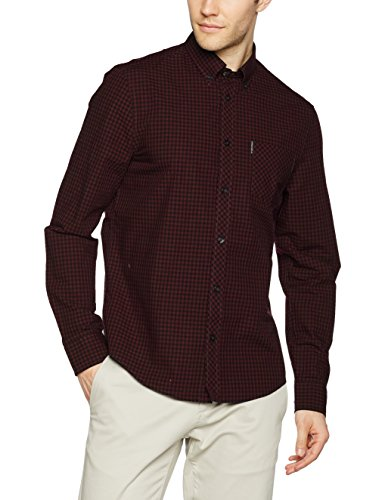 ben-sherman-mens-core-gingham-casual-shirt-purple-dark-plum-medium