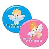 Polarkind Button 2er Set Kleiner Schutzengel Pin Anstecker Handmade Geschenk zur Geburt Taufe Kommunion Abi Schulanfang 2019