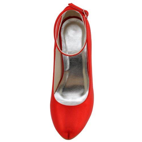 ElegantPark EP11049-IP Donna Satin Punta Chiusa Con Plateau Cinturino Alla Caviglia Partito Scarpe Da Sposa Rosso
