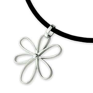 ARGENTviu - Pendentif sur un collier cordon cuir noir diàmetre 1mm Argent Fin - forme de fleur