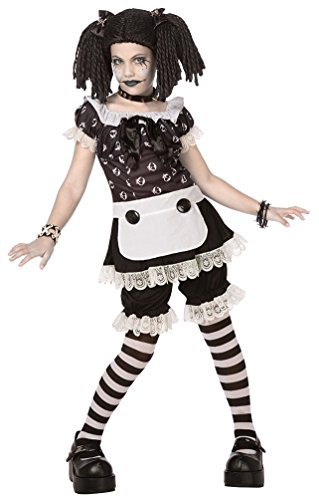 Voodoo Kostüm Mädchen - Karneval-Klamotten' Kostüm Horror Puppe Broken Killer Doll Halloween Mädchenkostüm komplett inkl. Perücke Größe 140/164