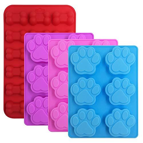 FineGood Silikon-Formen für Süßigkeiten, Schokolade, Welpen, Hundepfoten und Knochen, 4 Stück