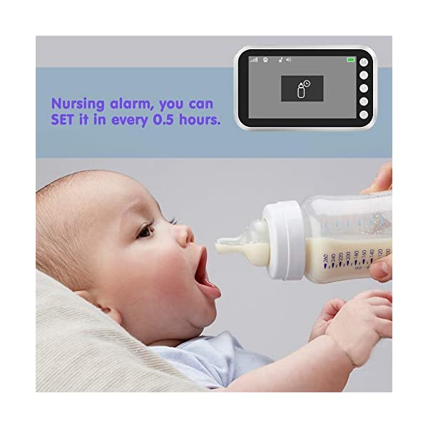 """Baby Monitor with Camera Video 4.3 Inch LCD Digital Screen 2.4Ghz Wireless Video Monitor for Night Vision Temperature Sensor 2-Way Talk Long Range 8 Lullabies Sound Activation Audio Baby Monitor  【4.3"""" LCD SCREEN Monitor】LCD display provides high definition view of your baby,with infrared night vision.Baby monitor offers the most vivid visual experience. 【Energy-Saving VOX Mode】Open the VOX function,the display screen automatically turns on when there's a voice in baby's room, and turn off when it gets silent for about 1 minute.You could focus on your things till the sound active the display.Use this mode the battery could last about 20 Hours. 【2.4GHz Wireless Connection Technology】No need to connect WIFI,needless of 3G/4G mobile data traffic,the 2.4GHz wireless technology provides 100% digital privacy and security,with range up to 1000ft in open space.Night vision is also supported. 6"""