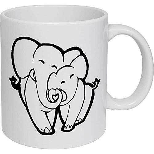 Azeeda 320ml 'Amor Elefantes' Taza de Ceramica (MG00015816)