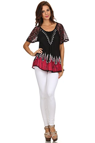 Sakkas Cora Bequemer Sitz Batik Design Gestickte Kappen-Hülsen-Bluse / Top Navy / Pink
