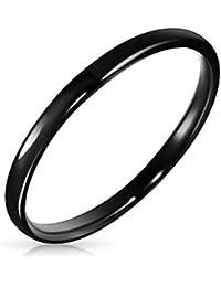 Bling Jewelry Tungsten negro 2mm Anillo Unisex