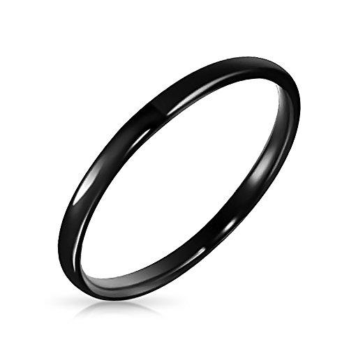 Bling Jewelry Dünne Stapelbar Minimalistisch Einfache Schwarz Paare Hochzeit Band Tungsten Ring Für Herren Für Damen Comfort Fit 2 MM
