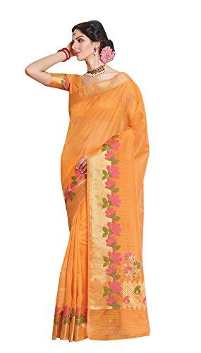 La\'ethnic Orange Super Net Saree