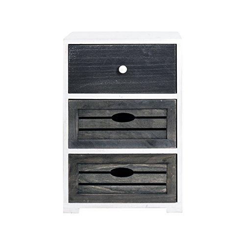 Rebecca mobili comodino cassettiera 3 cassetti legno paulownia bianco grigio shabby vintage camera bagno (cod. re4601)