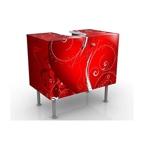Meuble sous Vasque Design Floral Heart 60x55x35cm, Petit, 60 cm de Large, réglable, Table de lavabo, Armoire de lavabo, lavabo, Meuble Bas, Baignoire, Salle de Bains, Armoire de Salle Bains