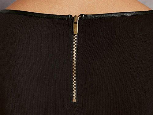 ESMARA® Damen 3/4-Arm-Shirt mit Kunstleder-Detail Schwarz