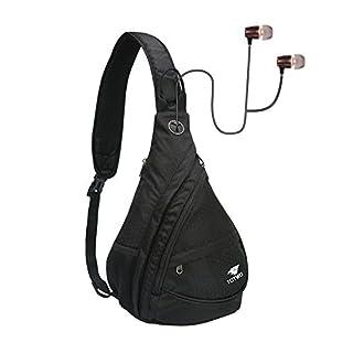 YHLCSQ Sling Bag,Chest Shoulder Hiking Backpack Sack Satchel Daypack Outdoor Cycling Bicycle Rucksack Handbag School Daypack for Men & Women (Black)