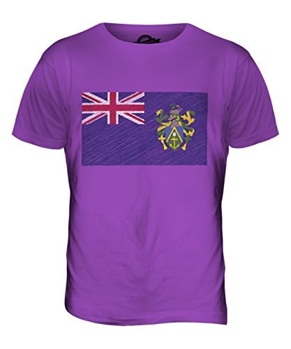 CandyMix Pitcairninseln Kritzelte Flagge Herren T Shirt Violett