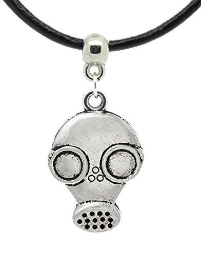 Gasmaske Gas Maske–Goth Spuk-Anhänger auf Premium Leder Collier/Halskette (Léon) (Biohazard Gasmaske)