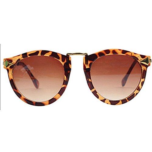 Preisvergleich Produktbild Damen Retro Sonnenbrillen Metallrahmen Süße Runde Brille Schutzbrille (Leopard)