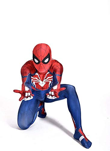 ASJUNQ 3D Digitaldruck Spiderman Kostüm Cosplay Overall Karneval Kostümball Film Prop Erwachsene Unisex Strumpfhosen,Child-XL