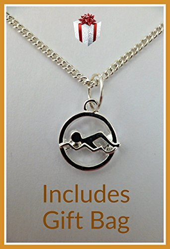 charmsandmore SILVER NECKLACE Sports Hobbies Swimmer Pendant Gift * FREE UK POSTAGE *