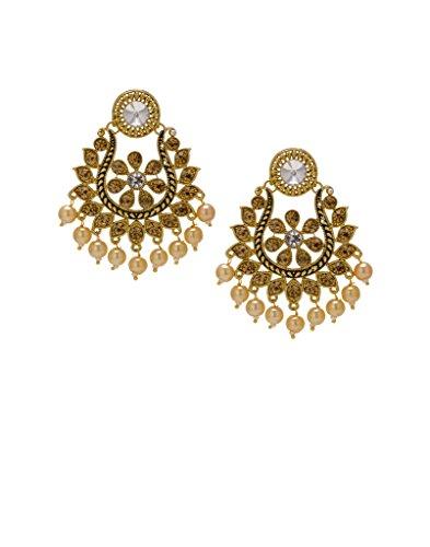 Bindhani Traditional Ethnic Golden Pearl Wedding Chandbali Earrings (Earing or Ear ings)...