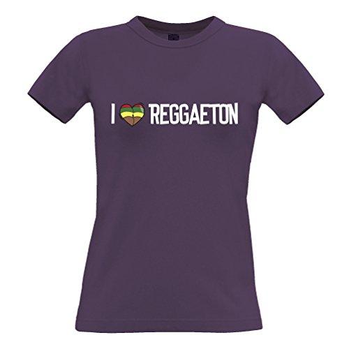 Musik Frauen T-Shirt I Love Reggaeton Reggae Jamaica Dub Soca Purple Medium