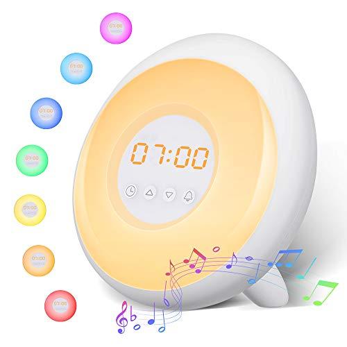 Wake Up Licht Lichtwecker, SOLMORE Digitaler Wecker Sonnenaufgang Sonnenuntergang Simulation mit 5 Wecktöne, Snooze Funktion, Stufenlos Dimmbar, Touch Control für Kinder und Erwachsene