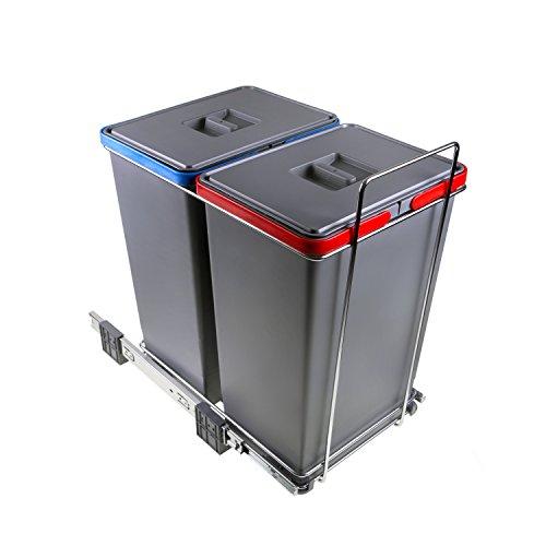 Elletipi Ecofil PF01 44B2 - Cubo de basura de reciclaje con base diferenciada, extraíble, de plástico y metal, gris, 30 x 45 x 46 cm