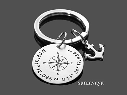Schlüsselanhänger Gravur GPS ANKER 925 Silber Anhänger Mann Koordinaten Kompass Herrenschmuck