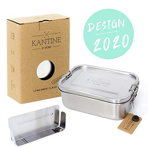 Kantine 51° Nord ® Lunchbox Classic   NEU 2020   Auslaufsichere 800ml Edelstahl Brotdose mit 2 Fächern durch Flexible Trennwand