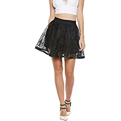 Camey Women Black Spinning Cover Stretch Waist Flared Casual Mini Skirt With divider Shorts