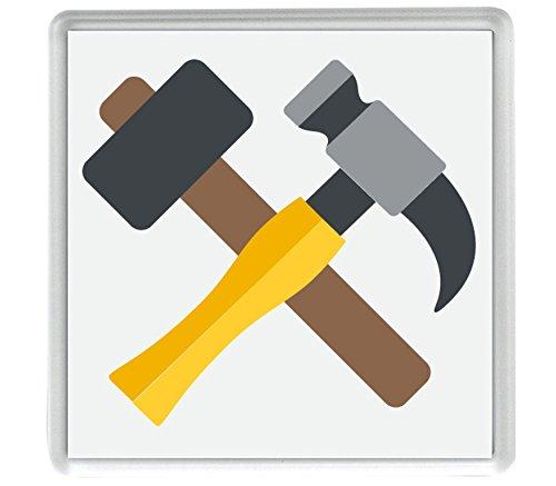 Hammer und Plektrum Emoji-Single 80mm x 80mm Untersetzer
