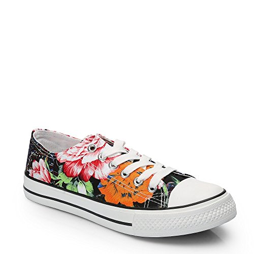 Ideal Shoes–Sneaker Bassi stampato fronde Jaimie Nero
