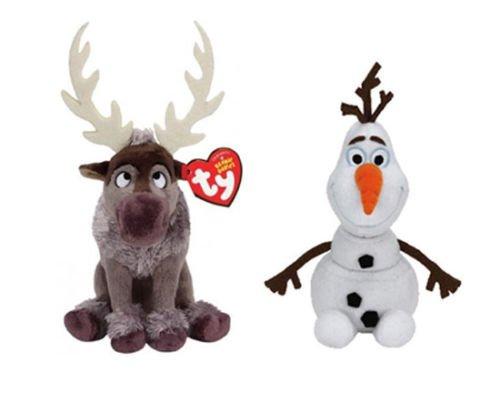 Set of 2 Ty Beanie Babies Disney Movie Frozen Plush - Sven Reindeer & Olaf