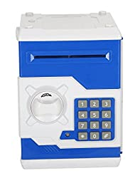 Aarushi Money Safe with Smart Lock Piggy Bank for Coin Blue