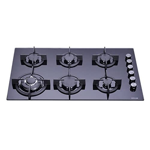 410 QYjw6uL. SS500  - Millar GH9061PB Hob 90cm Tempered Glass Black 6Gas Burners