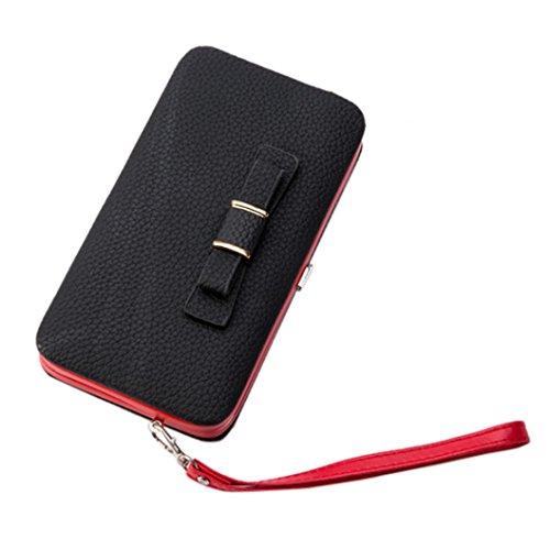 ESAILQ Lady Femmes d'embrayage longue bourse carte de portefeuille en cuir Porte-sac à main Sac de téléphone