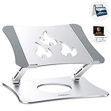 MISOTT Supporto PC Portatile, Supporti per Notebook Regolabile Ergonomico in Alluminio, Supporto per Laptop per Laptop/Tablet (10-15.6 Pollici) Inclusi MacBook Air PRO, dell XPS, Samsung(Argento)