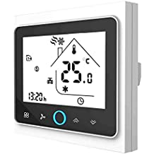 Termostato Inteligente para caldera de gas/agua,Termostato Calefaccion Wifi Pantalla LCD (pantalla TN) Botón táctil retroiluminado programable con Alexa Google Home and Phone APP-Negro/Blanco