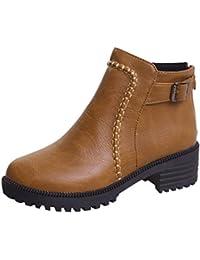 Botas mujer cortos casual,Sonnena Botas Martin de tacón alto para estudiantes Botas sin cordones Zapatos de mujer Botas cortas gruesas