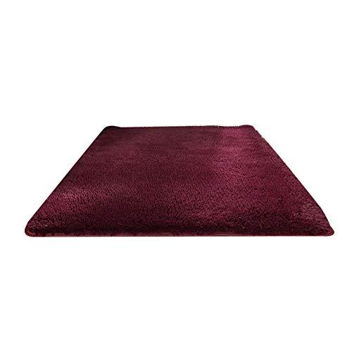 perlo33ER Alfombra De La Puerta del Dormitorio En El Hogar, Rectángulo De Color Sólido Espesar Alfombra Alfombra Alfombra del Piso Sala De Estar Decoración del Dormitorio Vino Rojo Los 50x120cm