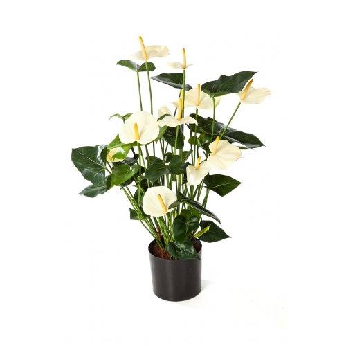 artplants – Kunstpflanze Anthurium-Busch Levana, 13 Blüten, Creme, Deluxe, 80cm – Anthurie künstlich/Kunstblumen