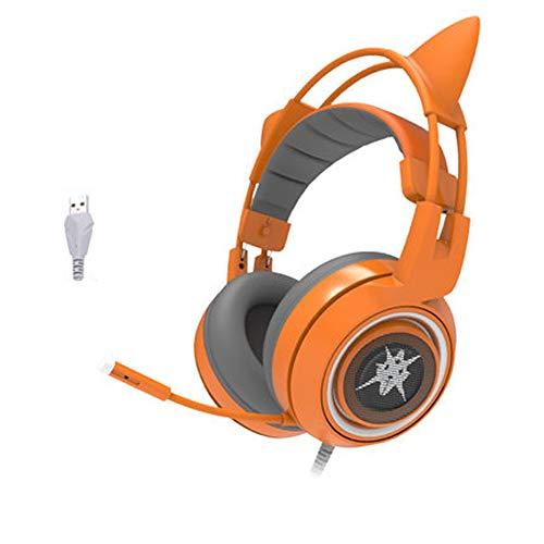 Gaming Headset für PS4, Katze Ohren Mädchen Nette Kopfhörer, 7.1 Surround-Sound, mit Mikrofon-Rauschunterdrückung, LED Atmung Lichter, die über Ohr-Gaming-Kopfhörer für PC/MAC / PS4 / Xbox on