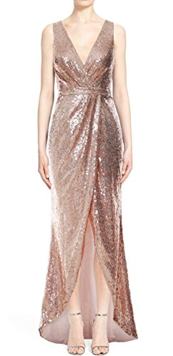 MACloth Gorgeous V Neck Sequin Hi Lo Bridesmaid Dress Wedding Party Formal Gown Rot
