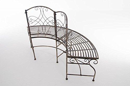 Gartenbank in nostalgischem Design Eckbank aus lackiertem Eisen Bronze halbrunde Baumbank - 4