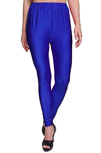 Cambrin Shimmer Lycra Women's/Girls Shining Churidar Leggings (Royal Blue, XXL)